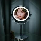 化妝鏡 化妝鏡帶LED燈5/10倍放大鏡臺式梳妝美容鏡學生宿舍鏡子