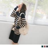 《FA2071-》配色條紋雙口袋毛球抽繩細針織長版連帽洋裝 OB嚴選