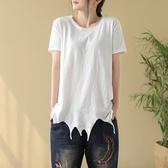 短袖T恤-個性有型不規則下擺女打底衫2色73sj74【巴黎精品】