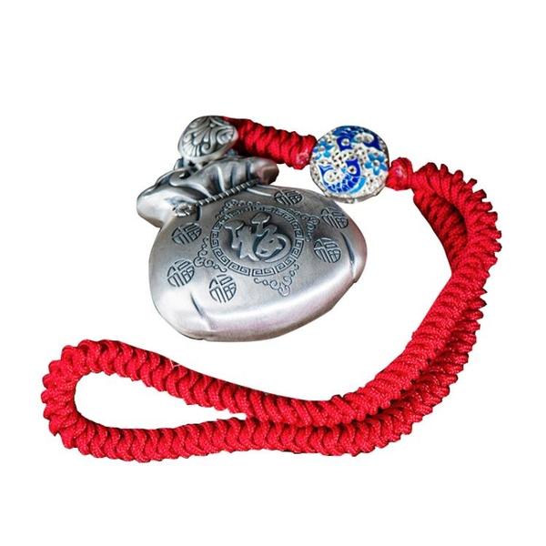 歐斯特 925銀福袋掛件吉祥如意汽車裝飾雕刻福字