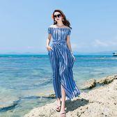 中大尺碼波西米亞度假長裙清新藍條紋洋裝女神海灘裙 zm5098『男人範』