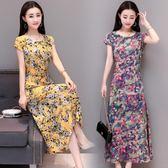 中老年夏裙子棉綢中老年女連身裙媽媽裝