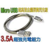 i-wiz USB 2.0 A公/Micro  B公 3.5A 高速金屬彈簧 銀色 1M
