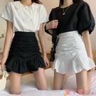 包臀裙 魚尾裙半身裙女春季2021新款高腰A字短裙褶皺包臀荷葉邊白色裙子 愛丫 免運
