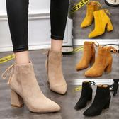 高跟鞋粗跟尖頭短筒靴馬丁靴女春秋英倫風絨面單靴裸靴 優家小鋪