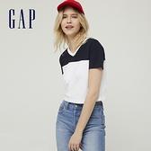 Gap女裝 純棉時尚撞色V領短袖T恤 826166-白色