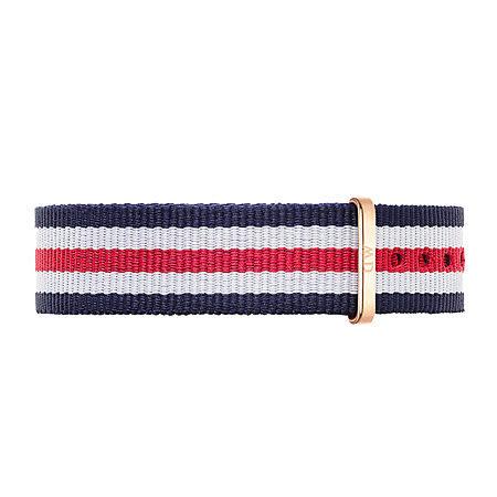 【公司貨】DW Daniel Wellington 藍白紅帆布錶帶 尼龍錶帶 玫瑰金扣 18mm DW00200030錶帶