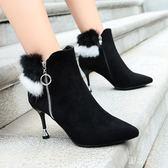 大尺碼女鞋 歐美靴子女秋細跟高跟鞋尖頭短靴裸靴側拉鏈女靴 nm10997【野之旅】