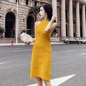 連衣裙女夏2018新款韓版氣質掛脖無袖修身顯瘦針織中長款背心裙女