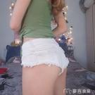 超短褲女白色超短褲女夏低腰牛仔短褲修身顯瘦性感露臀小短褲齊臂緊身熱 麥吉良品