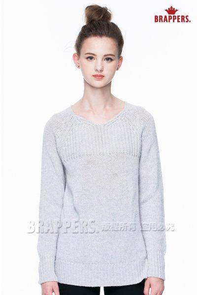BRAPPERS 女款 女用V領粗針織毛衣-灰紫