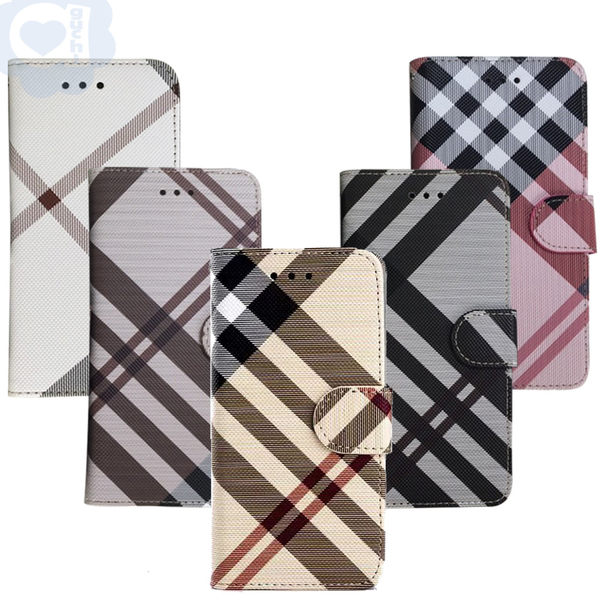 Apple iPhone 7 Plus/8 Plus 共用 英倫格紋氣質手機皮套 側掀磁扣支架式皮套 矽膠軟殼 5色可選