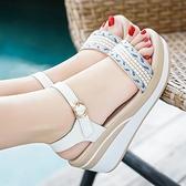 破跟涼鞋 夏天鬆糕厚底粗跟坡跟涼鞋女2021新款夏季百搭高跟鞋配裙子穿的鞋 晶彩 99免運
