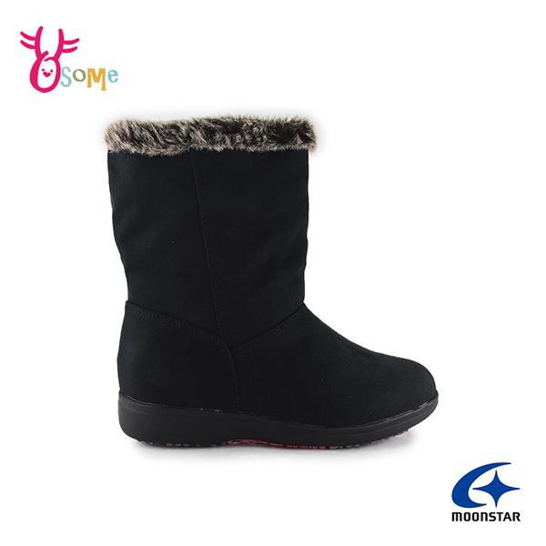 Moonstar月星日本防水靴 雪靴 成人女款 低調優雅時尚發熱機能中筒靴 I9605#黑色◆OSOME奧森鞋業