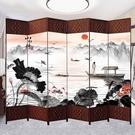 中式屏風隔斷簡易折疊客廳玄關牆移動折屏簡約現代辦公室實木屏風