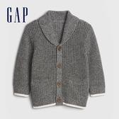 Gap嬰兒 簡約風格紐扣開襟針織衫 592871-黑色