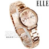 ELLE 時尚尖端 雙眼設計感跳色不銹鋼時尚 女錶 防水 藍寶石水晶 玫瑰金 ES21010B05X