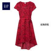 Gap女裝 花朵圖案系帶裝飾短袖洋裝 194208-紅色印花
