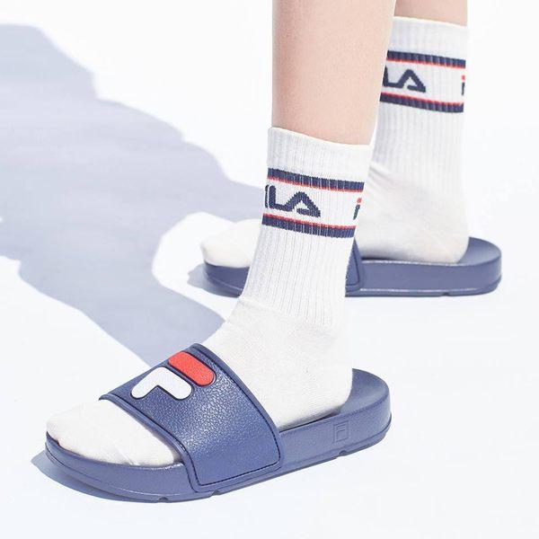 (男女)FILA韓版防水拖鞋-藍