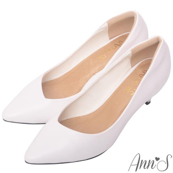 Ann'S漫步華爾滋-素色品味斜口低跟舒適尖頭鞋-白