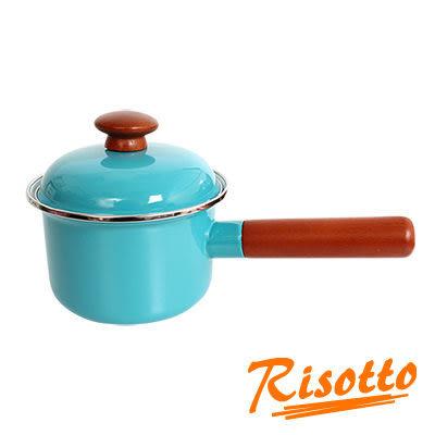 里和Riho RISOTTO 歐式簡約琺瑯直身單柄鍋1.2L 土耳其藍 湯鍋 牛奶鍋 燉鍋 泡麵鍋