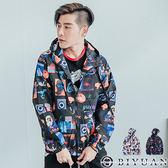 天馬行空風衣外套【FB805】OBIYUAN 潮流圖案印花防風外套 共2色