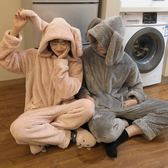 秋冬韓版甜美寬鬆可愛兔子連帽加厚情侶閨蜜款家居服連體褲睡衣女