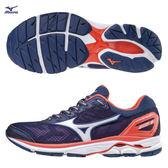 美津濃 MIZUNO  女跑鞋  WAVE RIDER 21  (藍紫)  寬楦  雲波浪款路跑鞋 J1GD180302【 胖媛的店 】