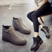 短靴女秋冬時尚短靴粗跟馬丁靴中低跟短筒靴素色休閒裸靴舒適女鞋子 【全網最低價】