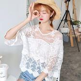 EASON SHOP(GU7367)氣質鉤花鏤空透視拼接蕾絲小V領長袖T恤女上衣服落肩七分袖薄款短版外搭罩衫白色