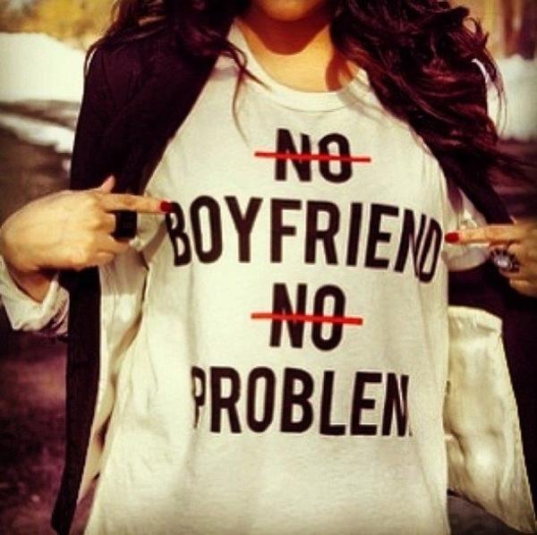 No Boyfriend No Problem#2短袖T恤-白色 沒有男朋友沒有問題文字趣味潮流時尚gildan 390
