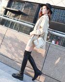 皮靴子女秋冬季圓頭粗跟低跟防水臺騎士靴過膝長靴彈力靴