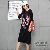 款大尺碼女裝中長款數字印花T恤連衣裙胖妞圓領簡約大尺碼女