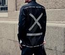 FINDSENSE品牌 男 時尚 街頭 潮 網紗拼接幾何交叉圖案 長袖襯衫 特色