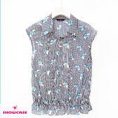 【SHOWCASE】直條紋蝴蝶印花縮腰迷人無袖雪紡襯衫(藍色)