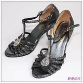 節奏皮件~國標舞鞋拉丁鞋款緞面鑲鑽舞鞋編號3805 灰銀色