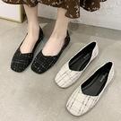 娃娃鞋.韓版甜美格紋方頭平底包鞋.白鳥麗...