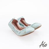 A.S.O 阿瘦集團 輕履鞋 綁帶軟羊皮可折疊娃娃鞋 蒂芬妮綠