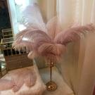 浪漫燭光晚餐金色燭台擺件現代簡約餐桌羽毛裝飾品歐式水晶蠟燭 小明同學