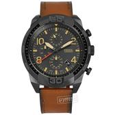 FOSSIL / FS5714 / Bronson 三眼計時 礦石強化玻璃 日期 日本機芯 真皮手錶 灰x黑框x咖啡 50mm