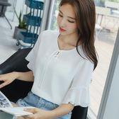 夏裝新款雪紡襯衫女短袖女裝喇叭袖上衣柔美顯瘦襯衫      芊惠衣屋