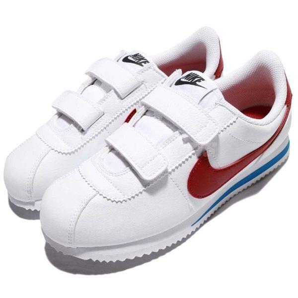 Nike 復古慢跑鞋 Cortez Basic SL PSV 白 紅 藍 OG 阿甘鞋 魔鬼氈 皮革 童鞋 中童鞋【PUMP306】 904767-103