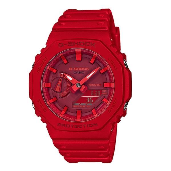 CASIO 卡西歐手錶專賣店 G-SHOCK GA-2100-4A 雙顯 男錶 橡膠錶帶 紅色 防水200米 GA-2100