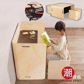 Adan阿丹兒童曲木多用途一桌二椅-樺木色