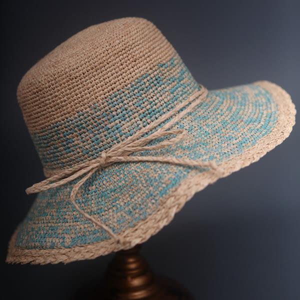 純手工細鉤針拉菲草遮陽帽女帽草帽防紫外線帽彩色草帽包郵可折疊  -396400116