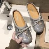 包頭半拖鞋女 款蝴蝶結亮片平底穆勒鞋學生可愛 娃娃鞋夏 初秋新品