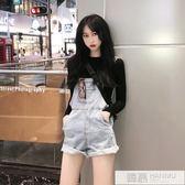 吊帶褲 2019夏季新款韓版網紅高腰闊腿短褲寬鬆毛邊熱褲減齡牛仔背帶褲女  韓慕精品