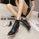 [Here Shoes] 7CM短靴 氣質百搭木頭紋鞋跟 筒高12CM皮革尖頭粗跟靴 高跟短靴-KW7099