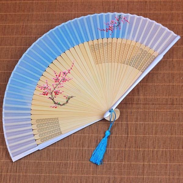 中國風扇子古風折扇真絲絲綢手工折疊扇日式女式隨身古典漢服竹扇
