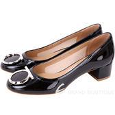 Salvatore Ferragamo ENA40 銀馬蹄飾漆皮粗跟鞋(黑色) 1730165-01